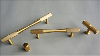 Knurled Golden Brass T Bar Door Cabinet Handle