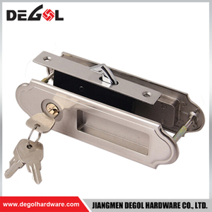 Top quality zinc alloy heavy duty key sliding glass door lock with brass cylinder