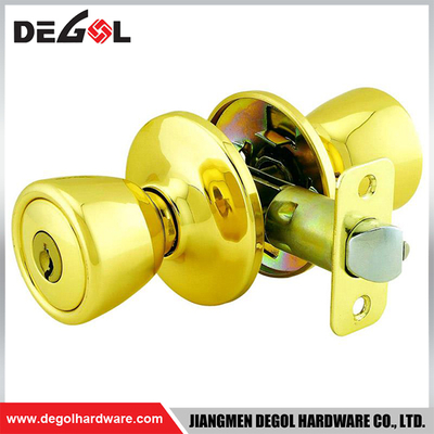 China wholesale rust proof tubular bathroom gold brass privacy door lock knob