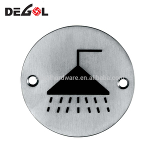 Durable Stainless Steel Round Metal Toilet And Shower Room Sign Plate