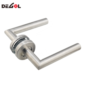 Stainless Steel Right Angle Tube Lever Round Rosette Door Lever Handle